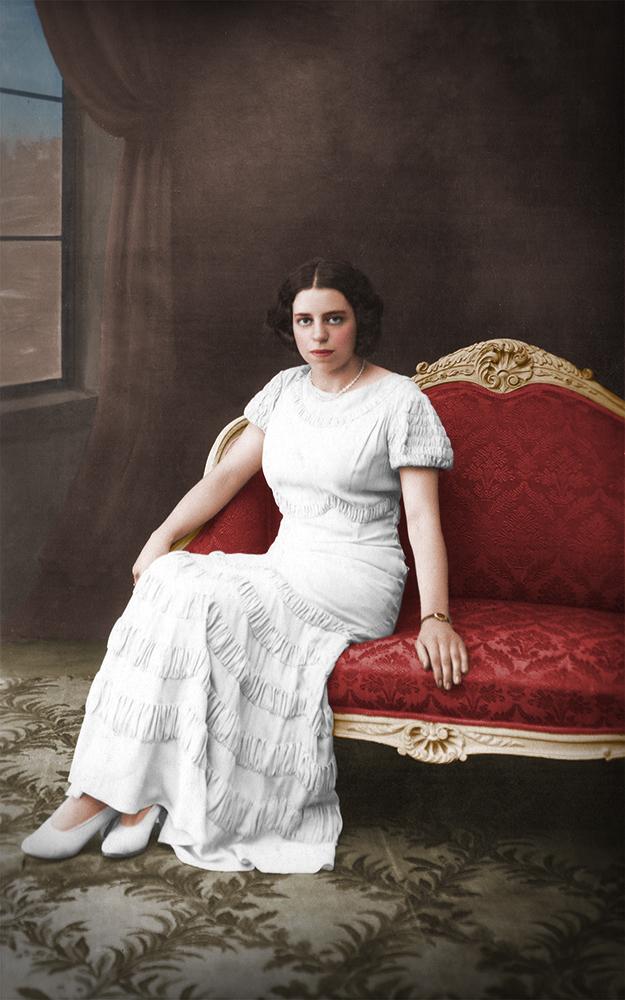 femme assise apres